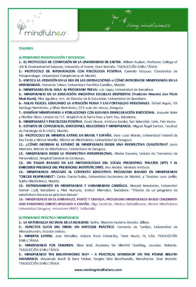 Programa Congreso Mindfulness 2016 taller de Dra Olga Sacristán